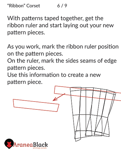 Transforming vertical pattern pieces into ribbon horizontal pieces with ribbon template