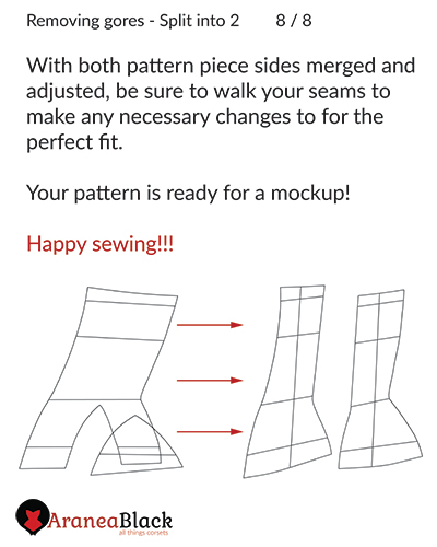End of the tutorial on how to remove gores on corset patterns by splitting them in two