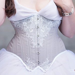 gray spot broche corset based on Edwardian underbust corset pattern IRIS