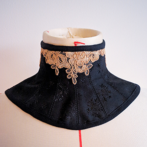 Black coutil with gold decoration neck corset based on neck corset pattern RAVEN