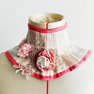 Pale pink with roses neck corset based on neck corset pattern RAVEN