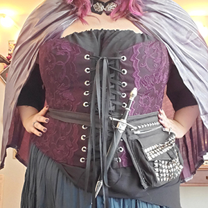 Purple lace overbust corset based on corset pattern Dolores