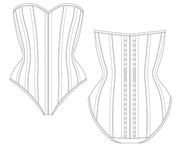 Black and white diagram of front and back view of bunnysuit corset pattern AMBER