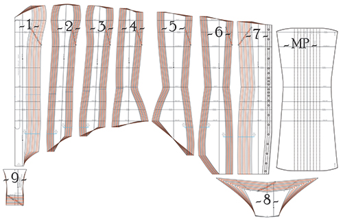 Pattern pieces diagram for the bunnysuit corset pattern AMBER