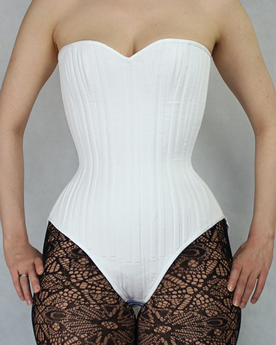 Front view white bunnysuit corset based on corset pattern amber