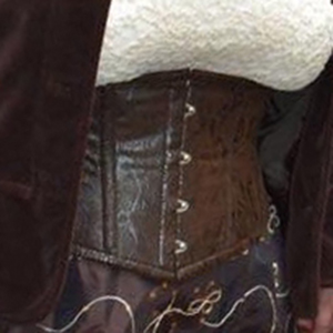 brown pleather waspie corset based on waspie corset pattern ANNA