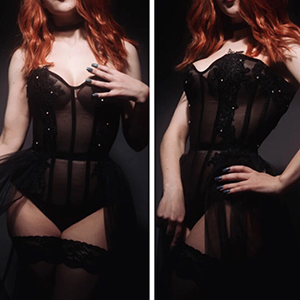 black mesh and lace corset bodysuit based on corset bunnysuit pattern AMBER