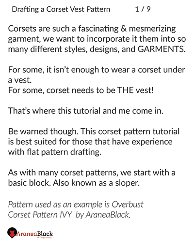 introduction into the tutorial on how to draft a corset vest