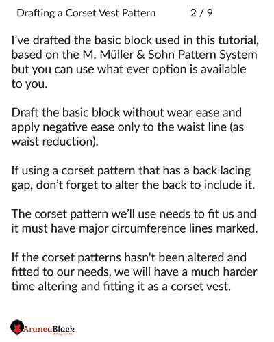 explaining what will be used in tutorial how to draft corset vest pattern