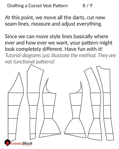 New corset vest pattern pieces drafted and adjusted
