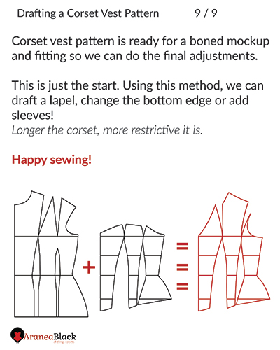 End of tutorial on how to draft a corset vest pattern