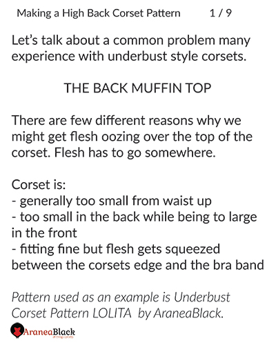 Introduction to the topic of drafting high back on corset patterns