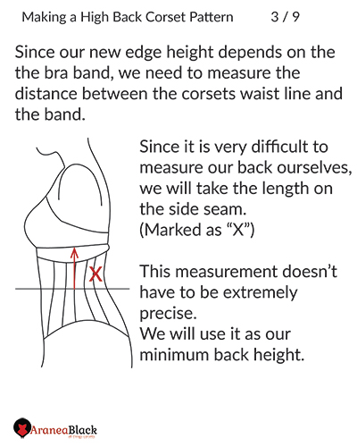 Preparing and measuring for the high back corset pattern adjustement