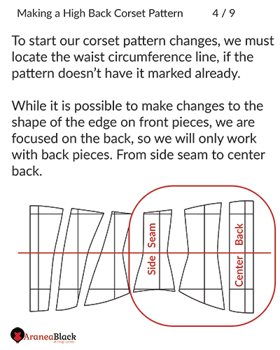 Preparation of the corset pattern for the high back to fix back muffin top