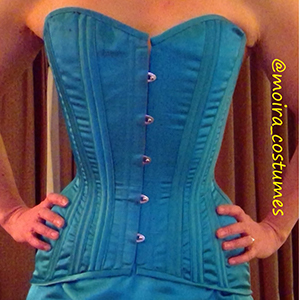 Blue overbust corset made based on corset pattern TESA
