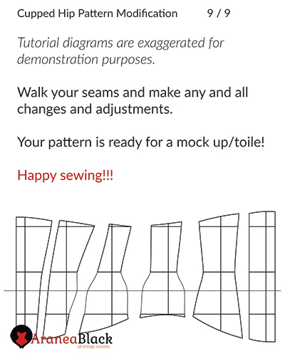 End of the tutorial on how to draft cupped high hip corset pattern modifications