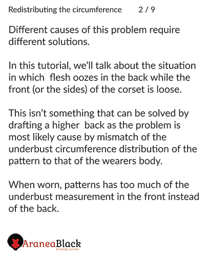 Explanation how to identify what is causing the problem of back flesh oozing over the corset edge