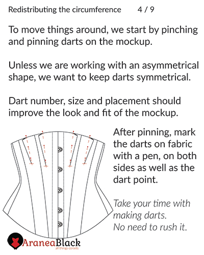 Preparation of the corset mockup by creating darts in the front
