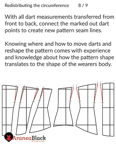 Drawing the new corset pattern lines