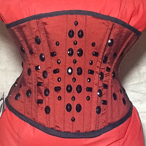 Red underbust corset with black shiny rhinestones made based on underbust corset pattern LOLITA