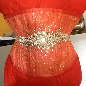 Orange underbust corset based on corset pattern LOLITA