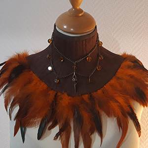 steampunk brown neck corset with orange feathers based on corset pattern Raven