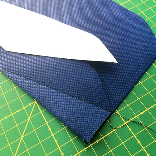 Sewing the angled seam using the seam template