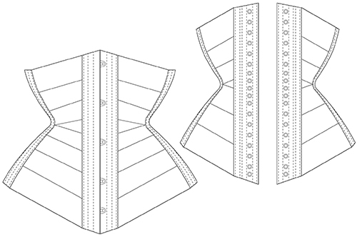 Underbust ribbon corset diagram front and back view