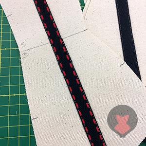 Sewing tape on to create boning channels