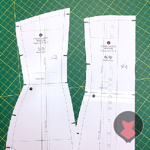 Corset pattern pieces affected by the change