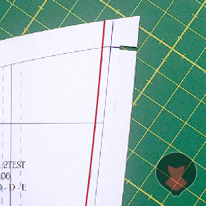 Marking the seam seam line on the corset pattern