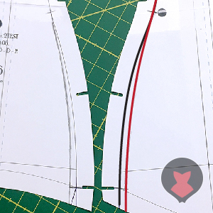 Old and adjusted seam line on corset pattern piece