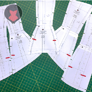 All corset pattern pieces affected by the edge shape change