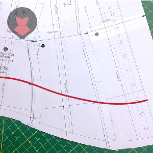 New edge shape drawn on corset pattern pieces