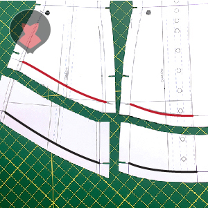 Excess corset pattern parts cut off