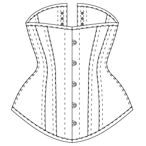 Underbust ALLY corset drawing front