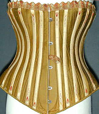 Front view of extant Y & N Diagonal corset in khaki golden color with cream external boning channels
