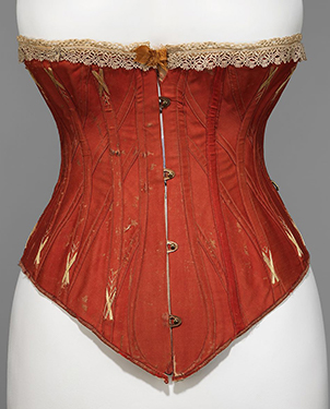 Coral red with cream flossing and lace (1877-1881)