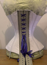 Back side of Mock up of a vertical seamed late victorian corset pattern