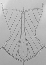 Front view design one diagonal seam corset design idea one