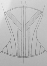Back view design one diagonal seam corset design idea one