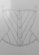Front view upside down corset design drawing three