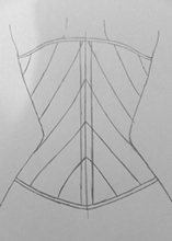 Back view upside down corset design drawing three