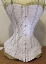 All diagonal seams drawn on to the front of Vertical seamed victorian corset mock up