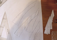 More diagonal seam corset pattern pieces traced on to paper