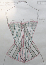 Drawing of the front side of chosen diagonal corset design