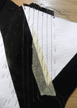 Using masking tape to help with sewing corset boning channels on straight