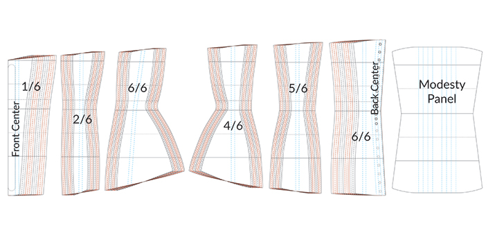 Underbust modern curvy corset ALLY pattern pieces diagram for version two