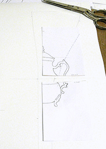 Teapot design cut into quarters for use on corset pattern